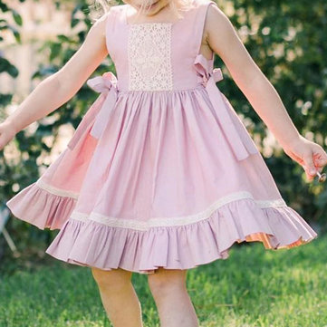 Lace Bow-knot Girls Dress For 1-5Y