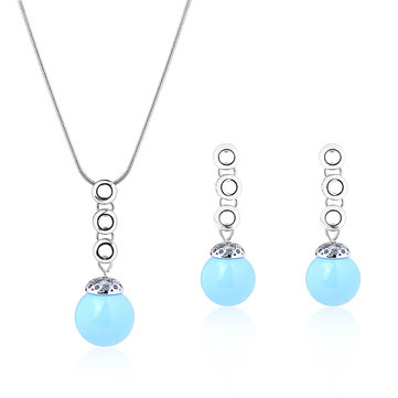 Elegant Jewelry Set Blue Opal Earrings Necklace Set