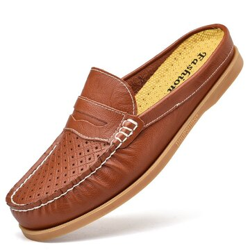 Men Moc Toe Leather Backless Loafers