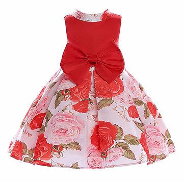 Big Bow Girls Floral Dress For 3Y-13Y