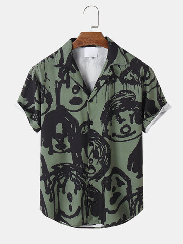 Graffiti Face Print Camp Collar Shirts