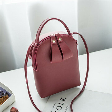 Women Solid Leisure Mini Phone Bags Faux Leather Bucket Bags