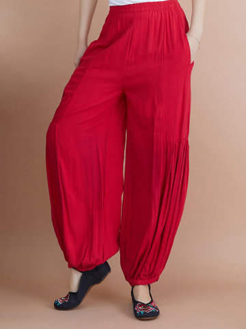 Solid Color Pleated Elastic Waist Harem Pants