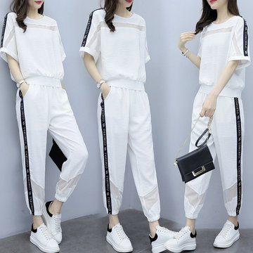 Season New Sports Suit Female Foreign Gas Loose Slim Casual Short-sleeved Two-piece Fashion Trend European Goods