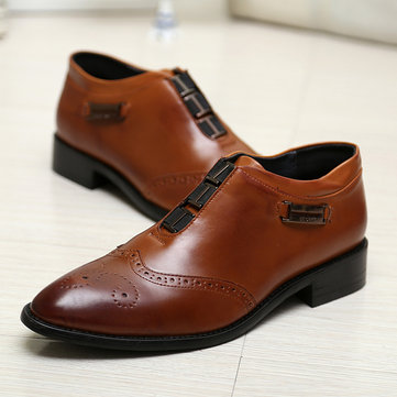 Men Carved Leather Slip On Formal Shoes