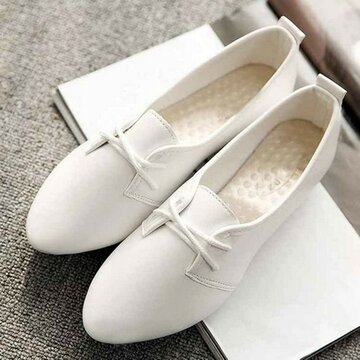 Pure Color Pointed Toe Flat Lace Up Shoes, White black black