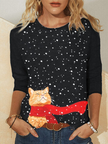 Cat Scarf Snowy Print Casual Blouse