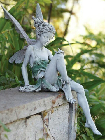 1PC Sitting Flower Fairy Elf Statue Resin Craft Landscaping Yard Garden Decor Ornament