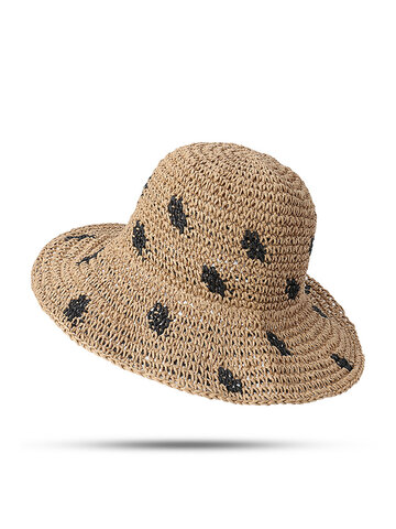Foldable Sunscreen Bucket Straw Hat