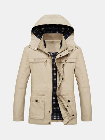 Casual Mid Length Windproof Cotton Hooded Jacket