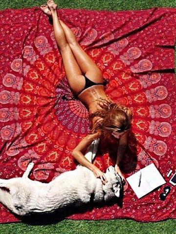 59 x 83'' Bohemian Style Thin Chiffon Beach Yoga Towel Mandala Rectangle Bed Sheet Tapestry