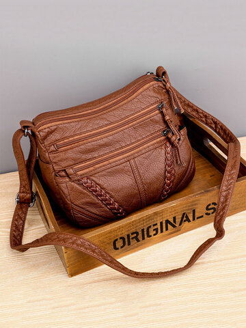 Women Multi-pocket Middle-aged Crossbody Bag