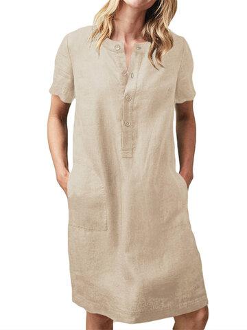 Pocket Solid Color V-neck Button Dress