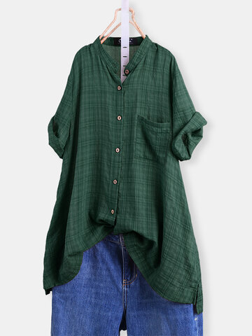 vendimia Plaid High Low Camisa