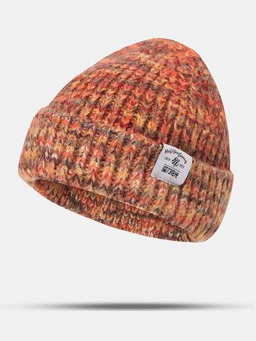 Unisex Mixed Color Letter Label Beanie Hat