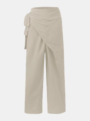 Asymmetrical Wide Leg Pleated Pants
