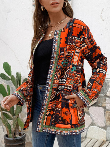 Ethnic Style Floral Print Jackets
