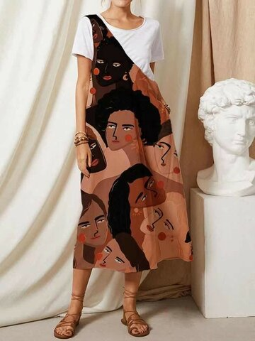 Abstract Pattern Overall Dress