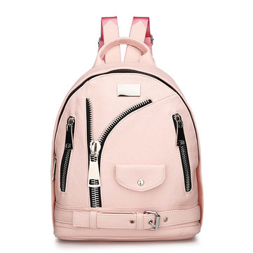 Donna PU Leather Soft Zipper Backpack Leisure Shoulder Borsa