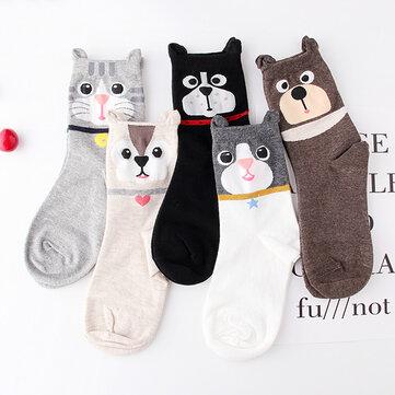 Chaussettes mignons de bande dessinée de modèle d'oreilles de chat
