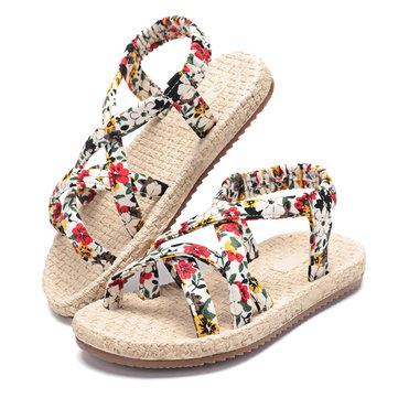 Girls Floral Knitted Beach Sandals