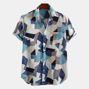 Mens Summer Color Block Shirts