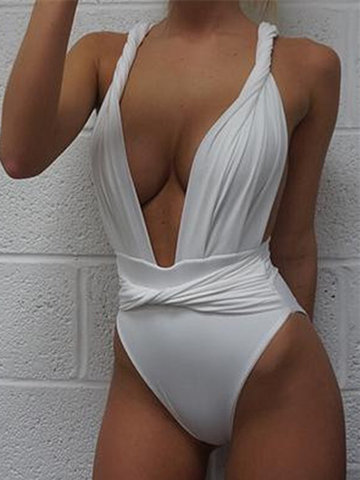 Deep V Twisted High Waist Monokini