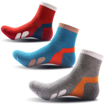Outdoor Sport Contrast Color Thick Sweat-absorbent Damping Sole Sock For Men