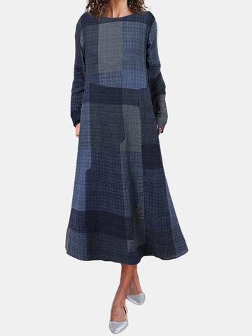 Plaid Print Pockets Casual Dress