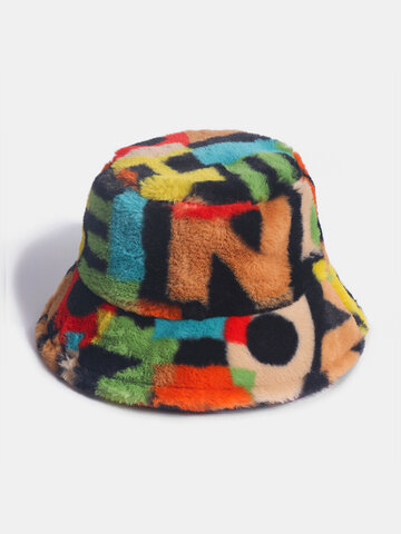Women & Men Rabbit Fur Contrast Color Number Printing Bucket Hat