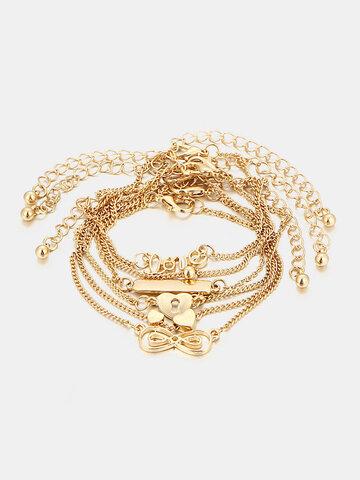 6 Pcs Heart Simple Golden Anklets