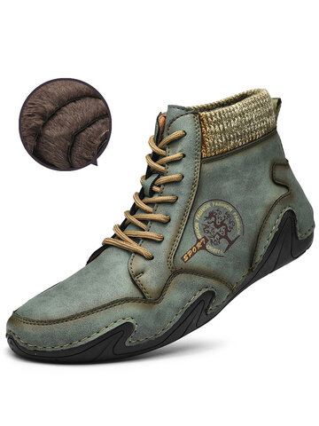 Men Handmade Soft Warm Lined Leather Ankle Boots
