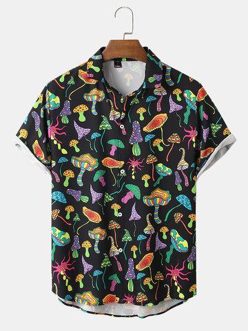 Colorful Mushroom Print Street Shirts