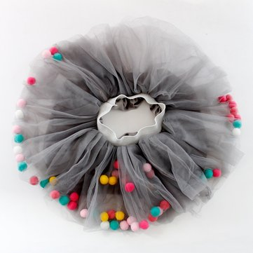 Colorful Pompom Girl Tutu Skirt For 1-9Y