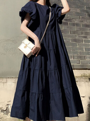Solid Color Pleated Casual Dress