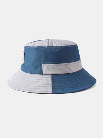 Chapeau de pêcheur pliable respirant à coutures bleues