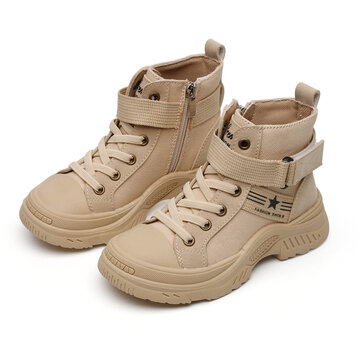 Unisex Kids Stylish Work Style Zipper Casual Canvas Short Boots