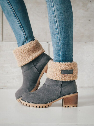 Suede Warm Lining Platform Ankle Boots