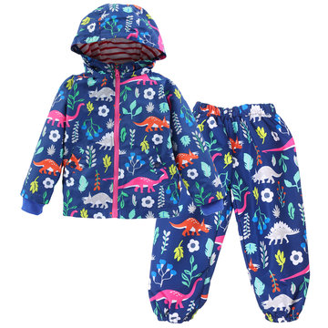 Dinosaur Print Kids Rain Coat+Pants