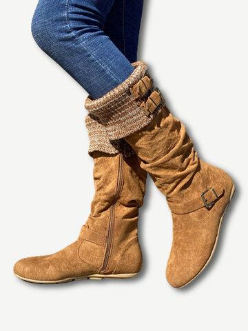 Suede Woolen Flat Knee Boots