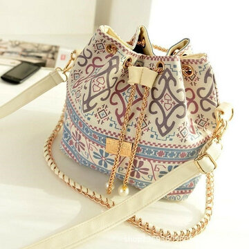 Women National Bucket Bag Printing Crossbody Bag