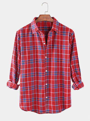 Check Button Up Relaxed Fit Shirts