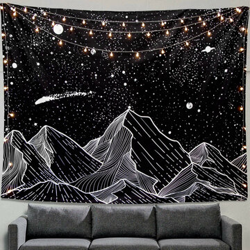 Wall Hanging Mountain Moon Tapestry Star Black And White Art Tapestry Home Decoration