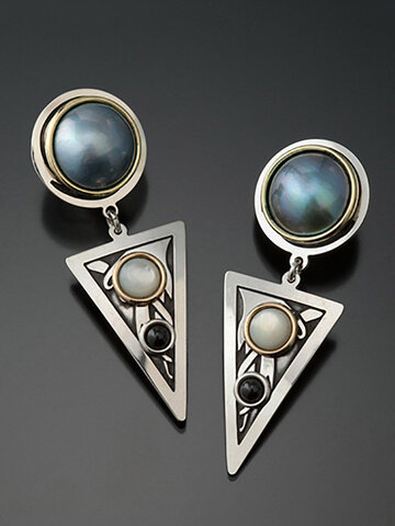 Triangle Pearl Pendant Earrings