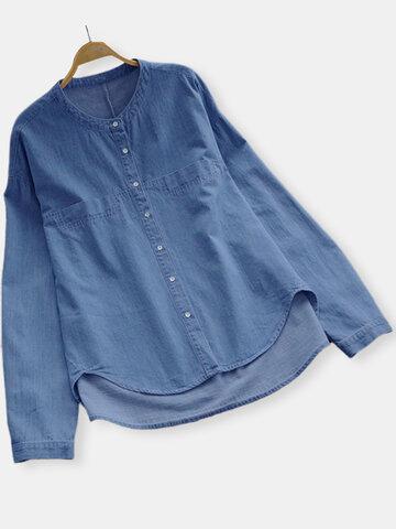 Solid Color Crew Neck Irregular Denim Shirt