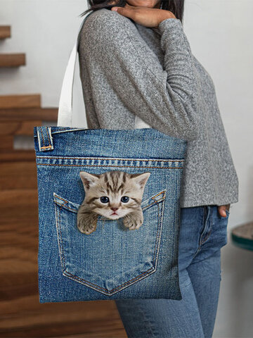 Canvas Cat Dog Handbag Tote