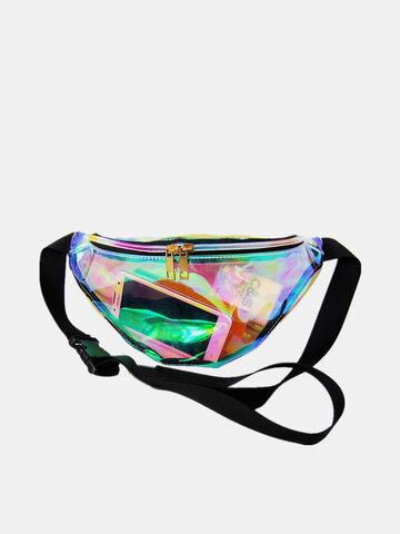 Women PVC Transparent Waterproof Laser Beach Bag Fanny Bag