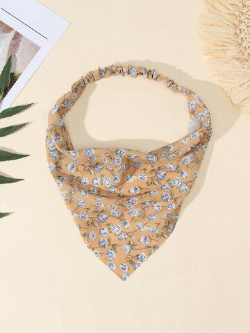 Women Rose Elastic Wrap Headscarf