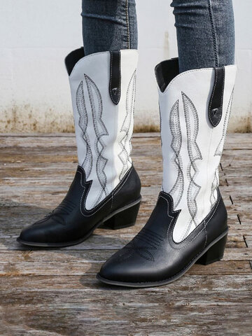 Embroidered Pointed Toe Cowboy Boots