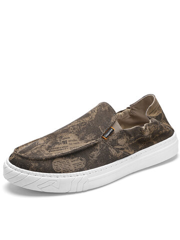 Men Printing Pattern Casual Slip On  Shoes